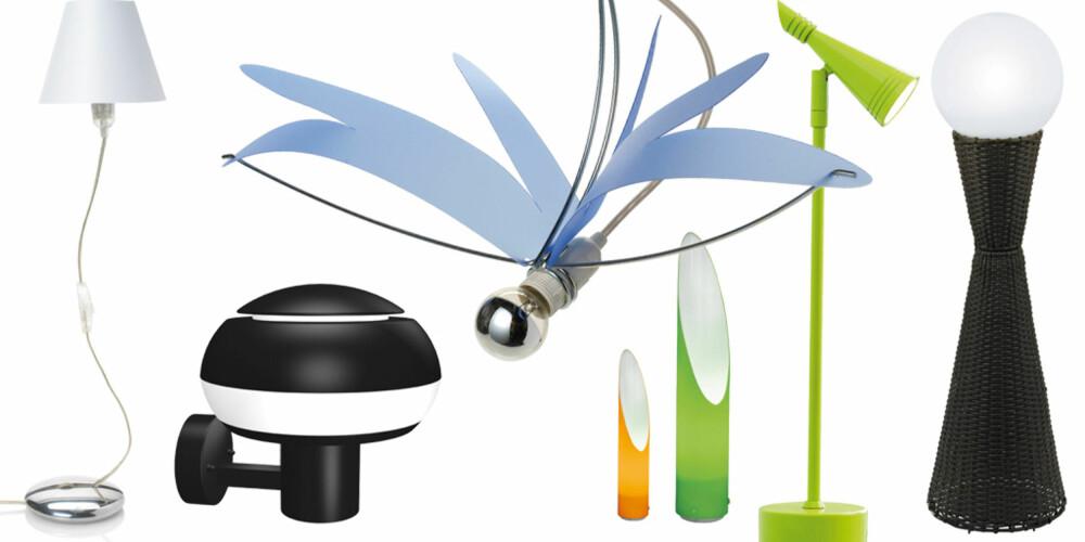 LAMPENYHETER: (fra venstre) Black+Blums Kind of Magic kan formes som du vil, og passer både på gulvet eller bordet. Boletus vegglampe med hint av retro, fra Herstal. Øyenstikkerlampen Lilblue er også fra Black+Blum. De smale Amalfi hagelampene får plass på selv den minste terrasse (EA belysning). Grønn Neptun bordlampe fra Herstal kan vippes hit og dit. Carpino lyser pent opp med sin kuleform - også for uterommet, fra EA belysning.