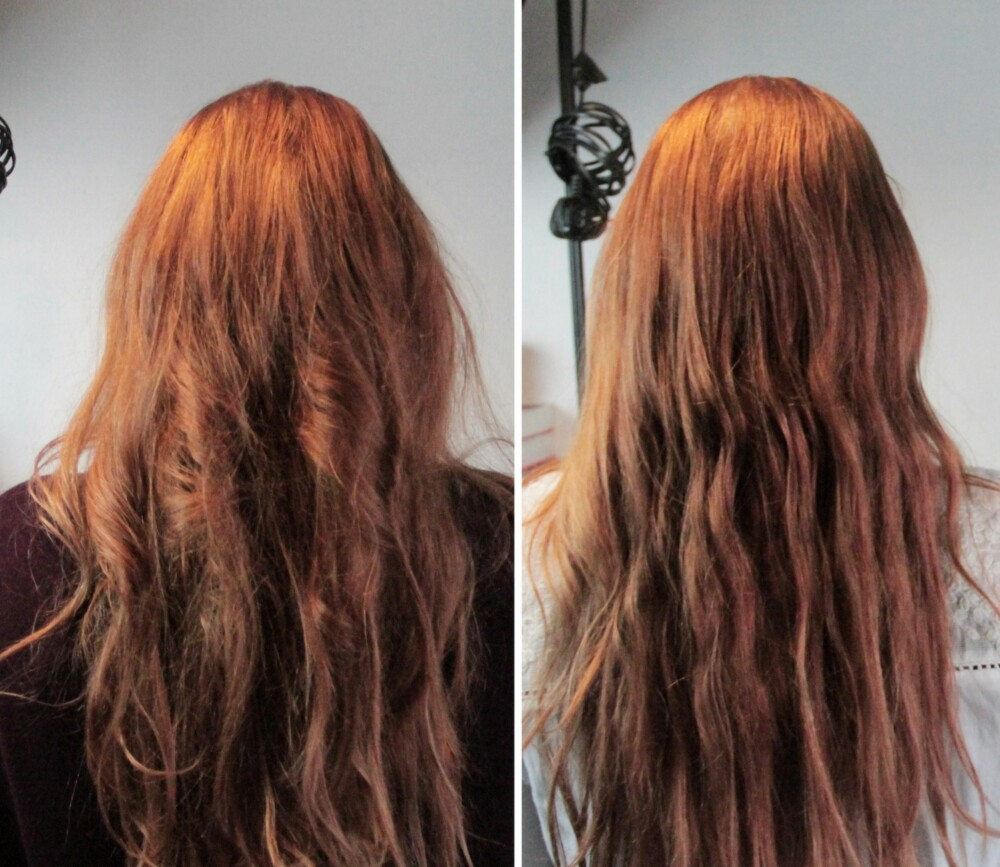 FØR OG ETTER: Til venstre ser du håret slik det var før rømmekuren. Til høyre ser du det endelige resultatet. Selv om man fint kunne brukt en dyr hårkur, er den billige rømme-varianten helt kurant og mye billigere.