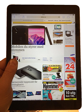ARVET: iPad Air har arvet en funksjon fra iPad mini. Her kan du holde tommelen inn på skjermen, men samtidig skrolle opp og ned på en nettside eller bla i en bok.
