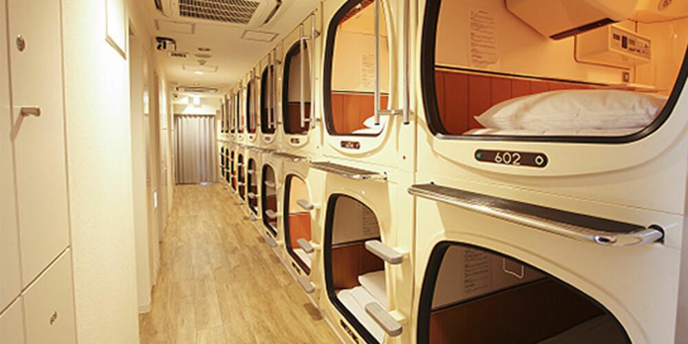 SOV KOMPAKT: Pods-hotell, hvor man rett og slett sover i et rom i mini-format, blir mer og mer vanlige i Tokyo.