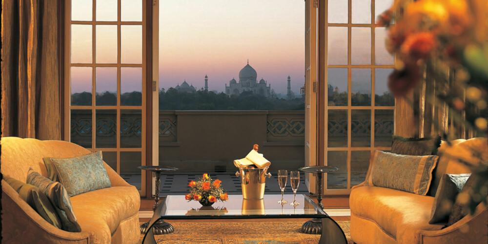 UTSIKT: Dette hotellet kan skryte av panoramautsikt rett mot spektakulære Taj Majal.