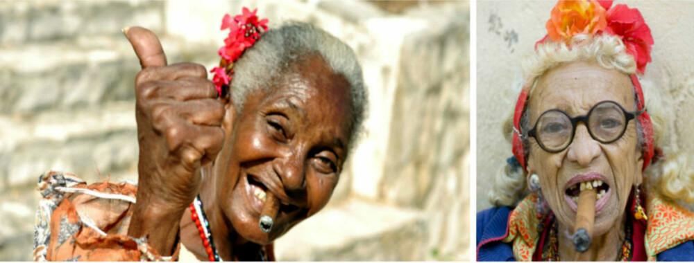 FOTOKULTUR: Eldre, kubanske damer med sigar er et yndlingsmotiv for mange turister på Cuba. - Mange av disse damene er en slags fotomodeller. De lever av å bli fotografert for penger, sier Glesnes. FOTO: Colourbox.com