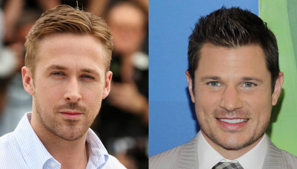 HVEM ER SMARTEST?: Ryan Gosling (t.v) har et smalere ansikt enn Nick Lachey. Da kan det hende at folk flest vil oppfatte Gosling som mer intelligent enn Lachey, noe som for øvrig på ingen måte er bevist.