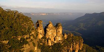 """BLUE MOUNTAINS: Dene fjellkjeden er populær blant turister. Formasjonen i bildet kalles """"3 søstre."""