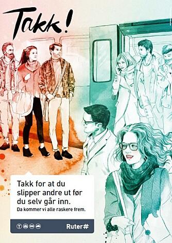TAKK FOR AT DU SLIPPER ANDRE UT: Ruter kjører jevnlig kampanjer som går på normal høflighet i kollektivtrafikken.