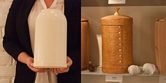 VALG: Til venstre den gratis urnen krematoriene tilbyr. Til høyre en av de mange varianter til salgs. Denne er av never og koster kr 2200.