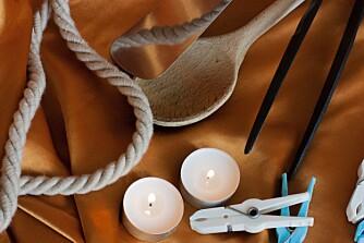 MANGE MULIGHETER: Stearinlys, et tau, kjøkkenredskaper og klesklyper er noe de fleste har hjemme.