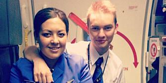 KABINBESETNING: Daniel Roten jobber i Ryanair, og kan bekrefte at mange av de 10 punktene stemmer. Ved siden av er en kollega. FOTO: Privat