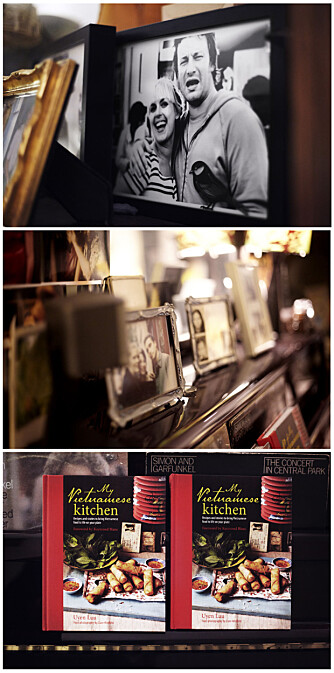 MINNER OG NY BOK: Alle bildene i Uyens leilighet gir en hjemmekoselig følelse. Flere av gjestene stusser over bildet av Jamie Oliver. Uyen møtte Jamie ved en tidligere anledning, og han har fått hedersplass på pianoet. Her står også to eksemplarer av Uyens ferske kokebok.