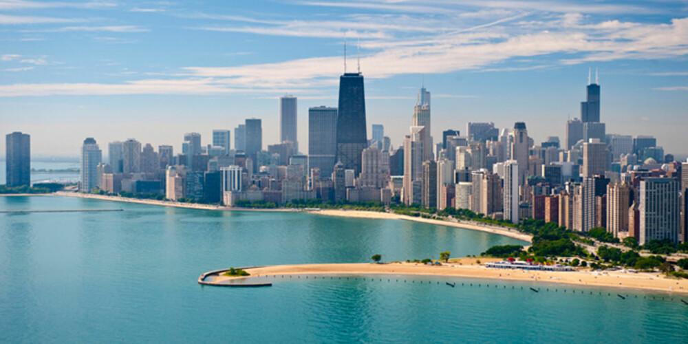 SKYLINE: Det er få skylines som er så imponerende som Chicagos. Byen er også hjem til det som var verdens første skyskraper.