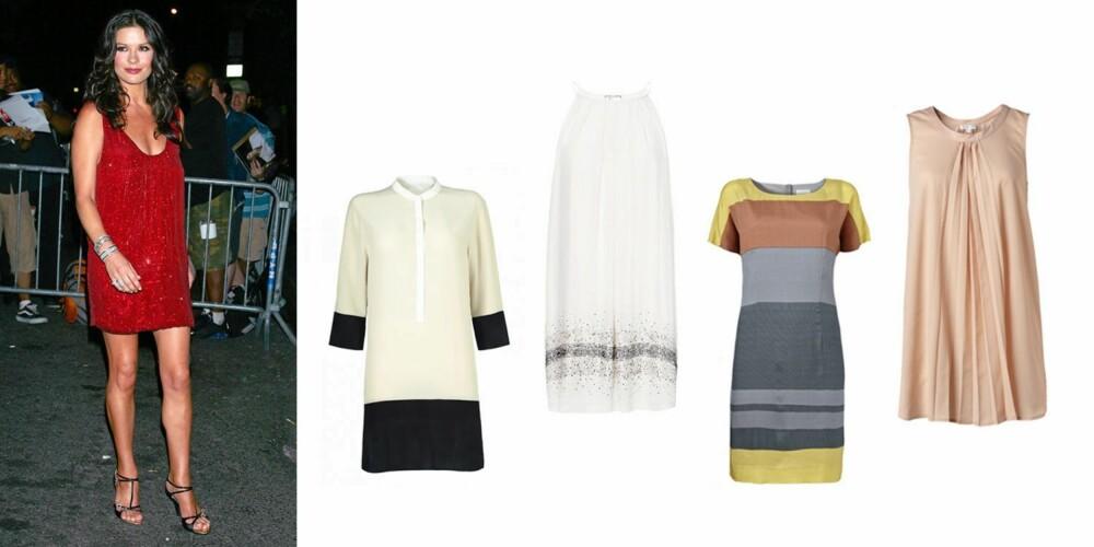 LEKRE LEGGER: De med denne fasongen er ofte velsignet med lekre ben. Vis dem fram! Det er Catherine Zeta Jones veldig flink til. Rett kjole fra Inwear (1099 kr), hvit, lett kjole fra Mango (1299 kr), stripete kjole fra Inwear (1399 kr), pudderfarget, kort kjole fra MQ (599 kr).
