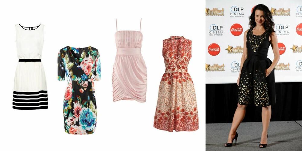 SEXY HOFTER: Få frem midjen og vis fram den sexy baken din! Kristin Davis velger alltid feminine snitt, som kler hennes pærefprmede kropp. Hvit og sort kjole fra Mango (399 kr), blomstret, figurnær kjole fra H&M (249 kr), rosa kjole fra H&M (399 kr), rødmønstret kjole med belte i livet fra Lindex (199 kr).