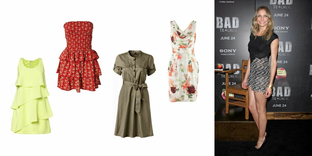 SLANK OG RETT: Cameron Diaz har en atletisk kropp med brede skuldre. Det gjør at hun godt kan velge seg kjoler som gir henne litt mer feminine former. gul kjole med rysjer fra MQ(499 kr), blomstrete kjole med stort skjørt fra Denim & Supply by Ralph Lauren. (799 kr), skjortekjole med vidt skjørt fra MQ (499 kr), blomstrete kjole med ballongskjørt fra H&M (299 kr).