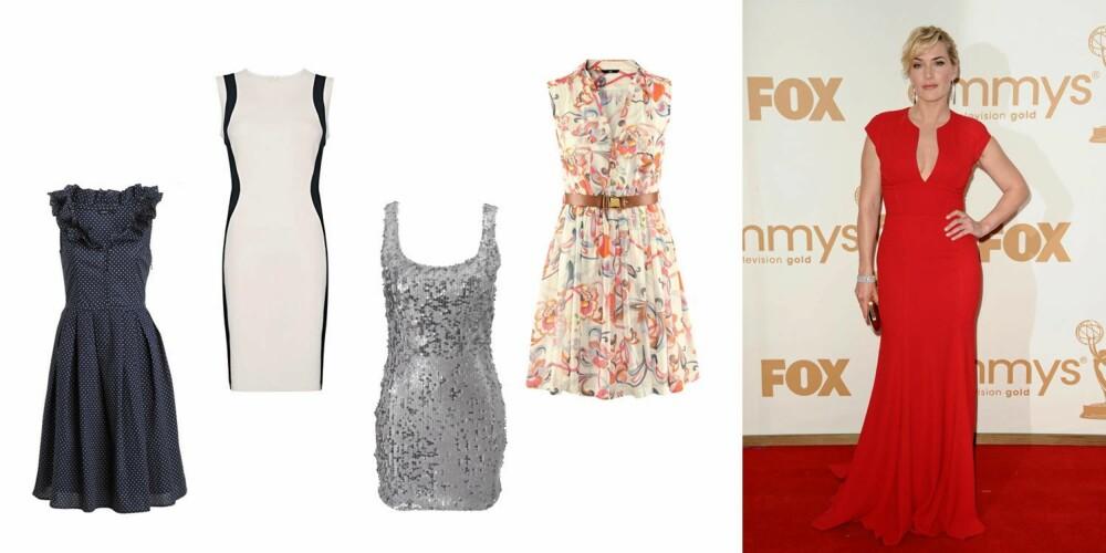FEMININE FORMER: Her gjelder det å vise hva man har. Kate Winslet er alltid sexy i figurnære kjoler som viser hennes flotte former. Blå kjole fra Lindex (299 kr), figurnær hvit og sort kjole fra Mango (449 kr), metallisk, kort kjole fra Gina Tricot (299 kr), feminin kjole med belte i livet fra H&M (299 kr).