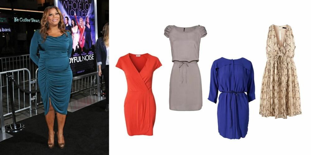FORMFULL: En stor kropp bør ikke gjemme seg i formløse plagg. Queen Latifah er alltid knallflott i figurnære plagg. Rød kjole fra Fillipa K/Nelly.com (1195 kr), grå kjole med snøring i livet fra Mango (299 kr), knallblå kjole fra Selected Femme (599 kr), slangeskinnmønstret kjole fra H&M (299 kr).