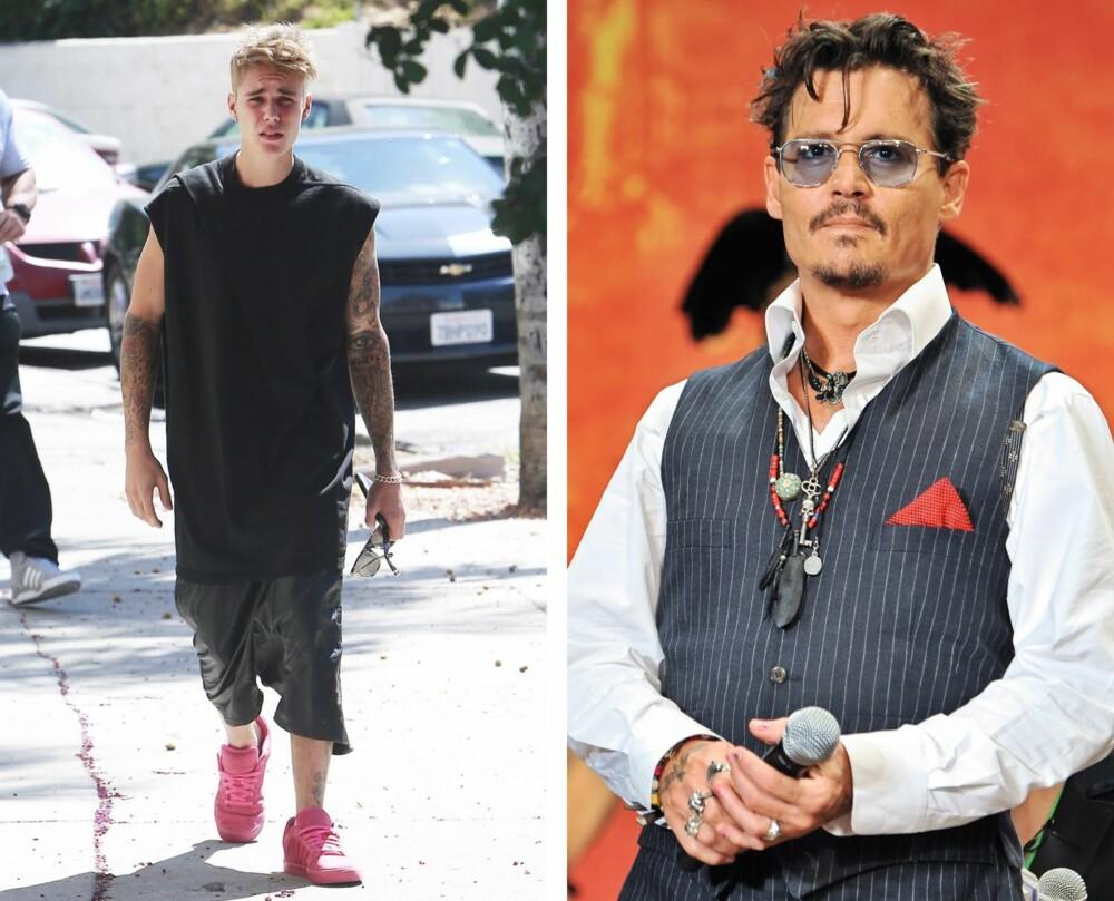 NEI, NEI, NEI...: Oversized og lange T-skjorter, her sett på Justin Bieber, og for mye tilbehør som Johnny Depp er stor fan av, er motetabber du ikke bør begå.