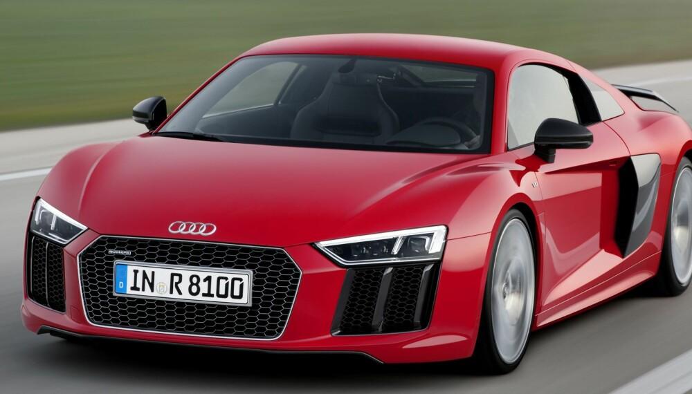 DEN RASKESTE: Toppversjonen kalles Audi R8 V10 plus. Stikkord er 610 hk og 0-100 km/t på 3,2 sekunder. FOTO: Audi