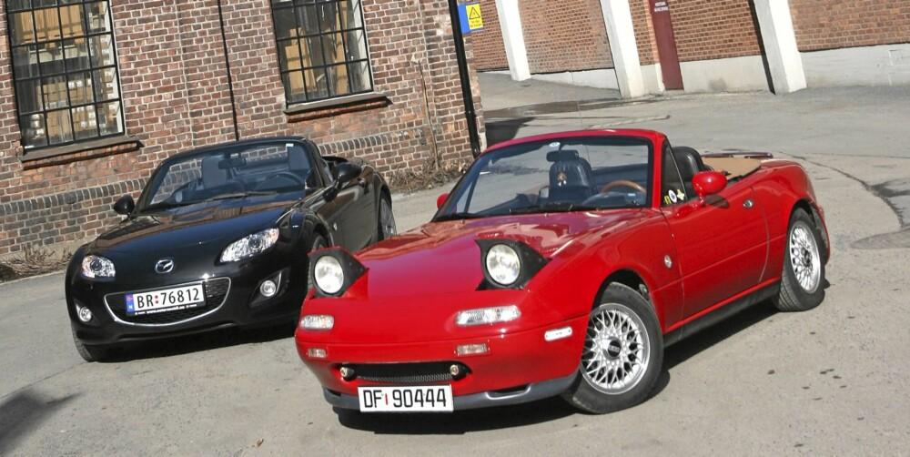 GAMMEL OG NY: Mye har skjedd de siste 20 årene, men konseptet er det samme for Mazda MX-5.