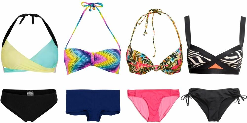 STOR RUMPE: Bikini fra KappAhl, kr 149 for overdel og kr 129 for underdel. Bikini fra Cubus, kr 129 for overdel og kr 129 for underdel. Bikini fra Lindex, kr 179 for overdel og kr 129 for underdel. Bikini fra H&M, kr 149 for overdel og kr 79,50 for underdel.