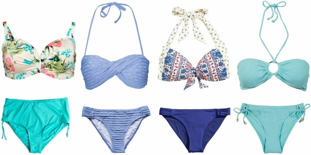 STORE LÅR OG BREDE HOFTER (f.v.): Bikini fra Lindex, kr 199 for overdel og kr 149 for underdel. Bikini fra Vero Moda, kr 278. Bikini fra H&M, kr 149 for overdel og kr 99 for underdel. Bikini fra Cubus, kr 149 for overdel og kr 129 for underdel.
