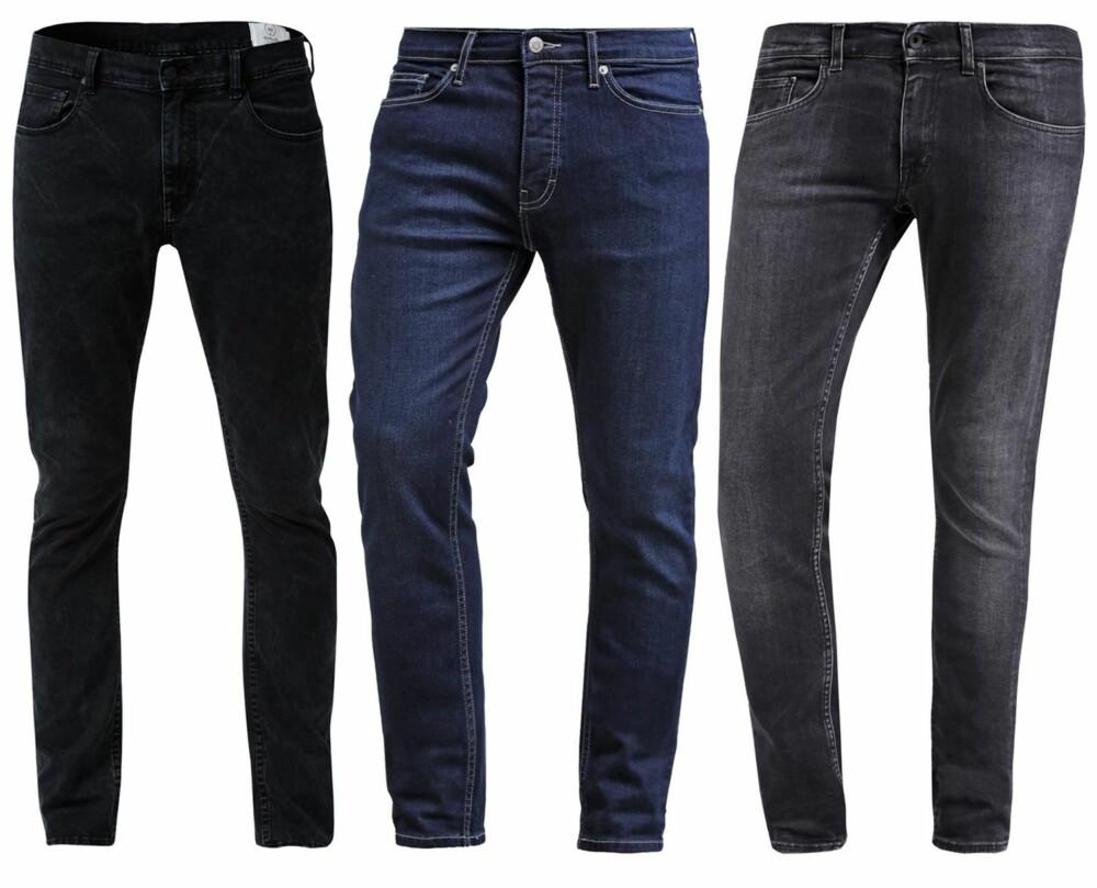 SKINNY JEANS (f.v.): Emilio Black Grey Wash, kr 599. Topman Slim Fit Jeans Mid blue, kr 399. Tiger of Sweden Jeans Slim Fit Jeans Blackblue, kr 1395.
