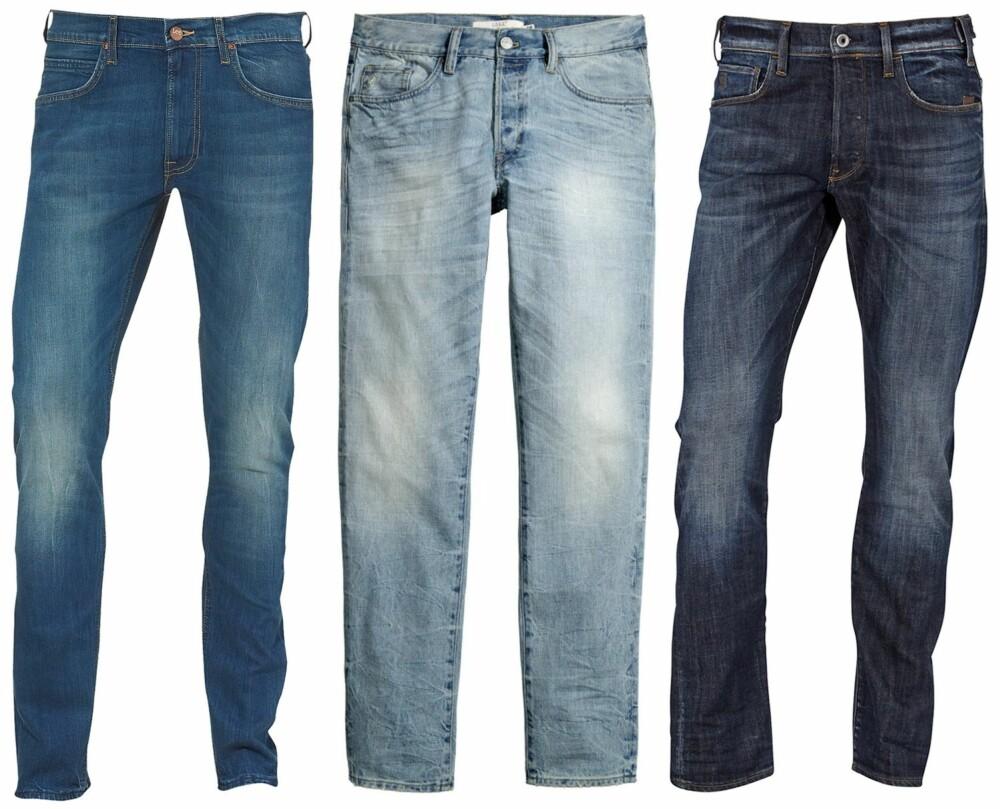 TAPERED JEANS (f.v.): Lee Jeans Luke Slim Tapered Fit, kr 749. H&M Jeans Tapered fit, kr 399. G-Star Jeans Holmer Tapered, kr 1049.