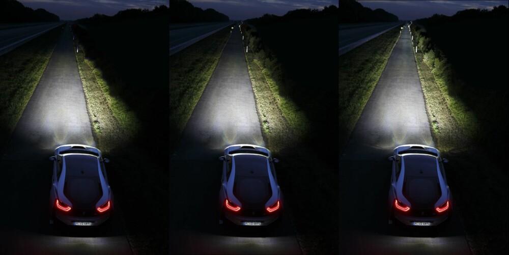 LASER: Fra venstre: LED nærlys, LED fjernlys og laser helt til høyre. ILLUSTRASJON: BMW
