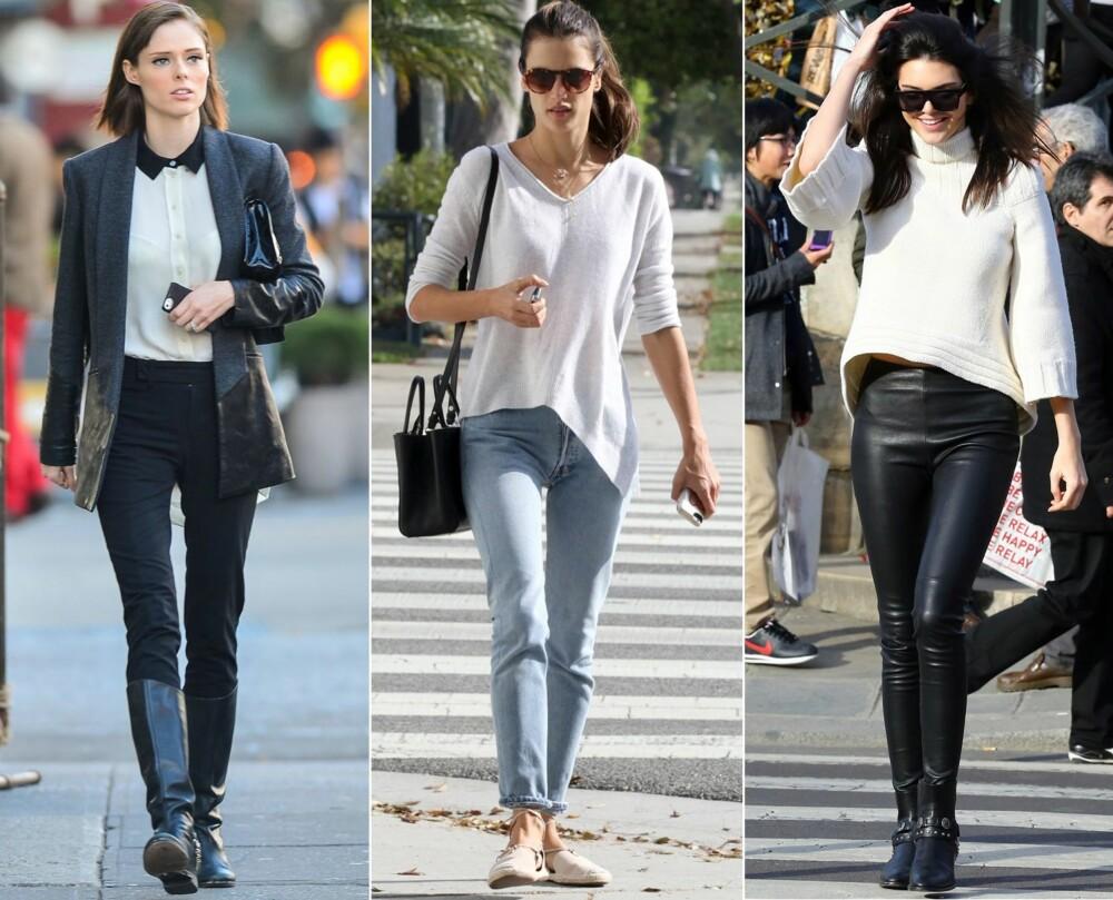HVA BØR HUN HA PÅ SEG?: Coco Rocha har på seg en smal dressbukse, bluse, blazer og boots. Allesandra Ambrosio har på seg jeans, en topp og lave sko. Kendall Jenner har på seg skinnbukse, genser og ankelstøvletter.
