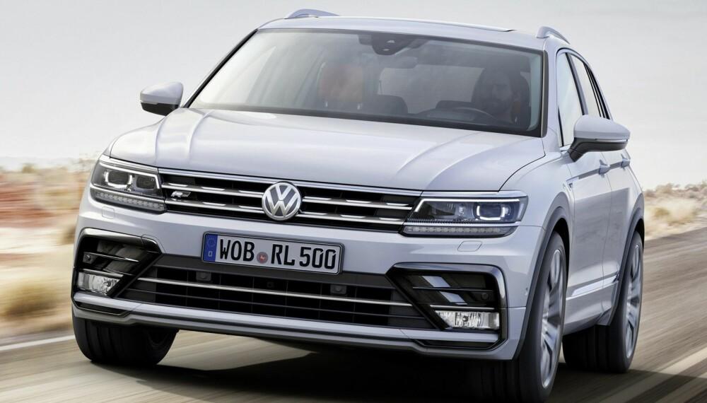 VW TIGUAN: Den kanskje viktigste nyheten sett med norske øyne er nye VW Tiguan. Bildet viser nye Tiguan R-line