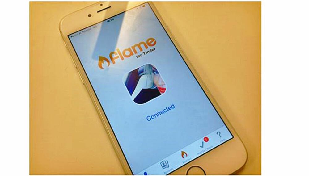 NY APP: Har du hørt om Flame for Tinder Dating? Appen som lar få en oversikt over alle som sveiper til høyre på deg...UTEN at du trenger å gjøre det samme på dem!? FOTO: Marte Korsbrekke