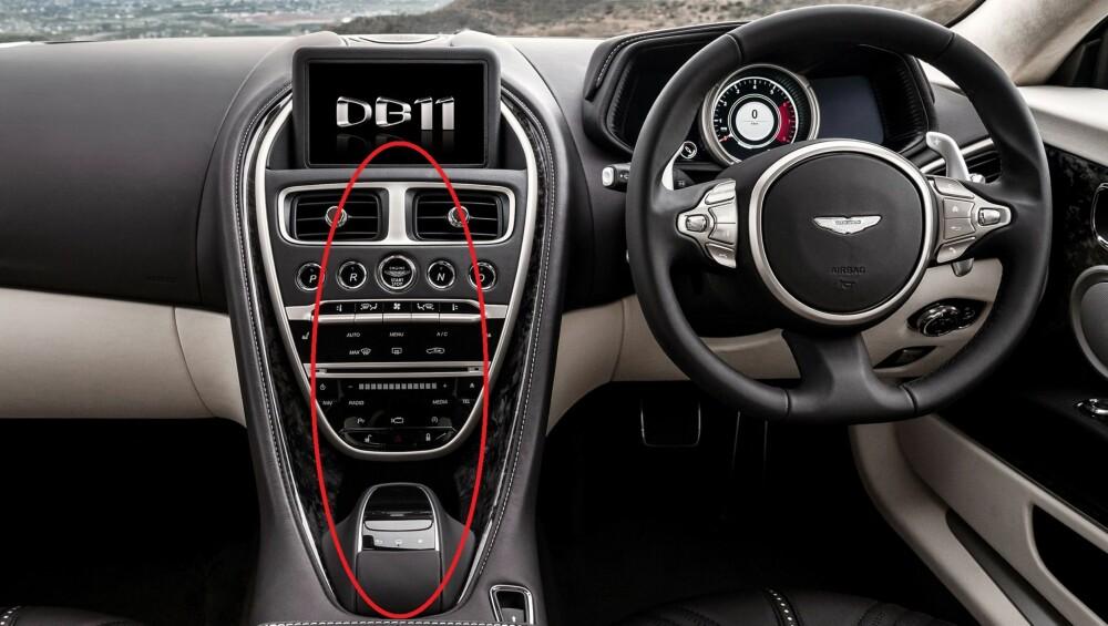MERCEDES: Mye av betjeningen har umiskjennelig Mercedes-preg. FOTO: Aston Martin