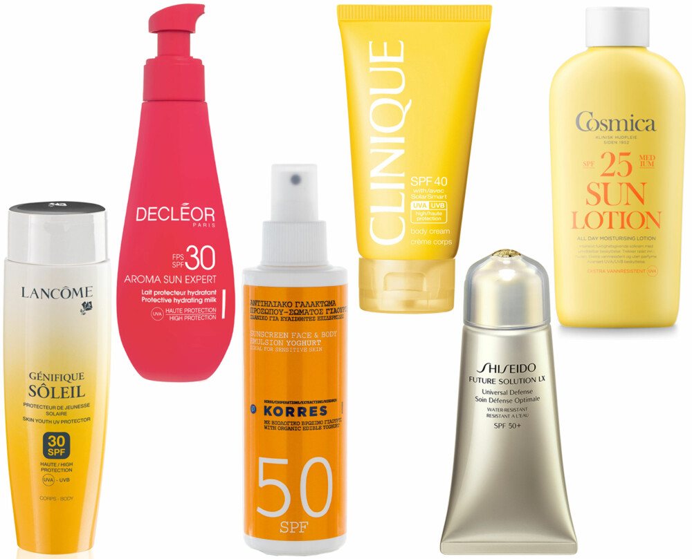 SOLKREM TIL KROPP (f.v.): Lancôme Génifique Sun Body SPF 30, kr 410. Decléor Sun Care Protection Hydrating Milk SPF 30, kr 395. Korres Suncare Spray Yoghurt SPF 50, kr 235. Clinique SPF 40 Body Cream/Douglas.no, kr 236. Shiseideo Future Solution LX Universal Defence, kr 790. Cosmica Moisturising Sun Lotion SPF 25, kr 209.