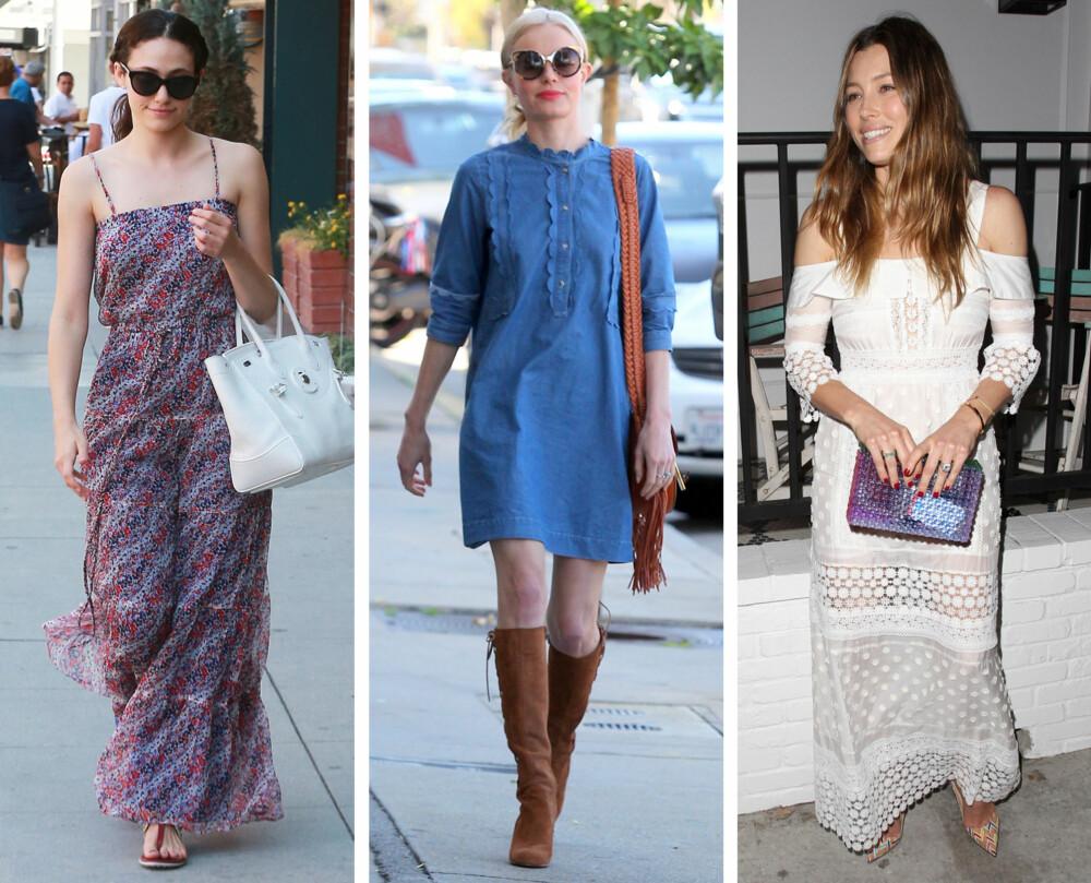 SOMMERKJOLER: Blomster, denim og bare skuldre er noen av årets sommerkjoletrender. Her sett på Emmy Rossum, Kate Bosworth og Jessica Biel.