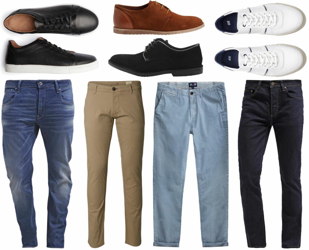 SKO OG BUKSER (f.v.): Selected Leather - Sneakers, kr 799,95. Bianco Suede Laced Up JJA16, kr 999. Bianco Stiched Down Suede Shoe MAM16, kr 899. H&M Sneakers i skinn, kr 499. G-star ARC 3D SLIM - Slim fit jeans - firro denim/Zalando, kr 949. Selected Regular Fit - Chinos, kr 499,95. Kappahl Denim by Hampton Republic 27 Chinos, kr 399. Pier One Straight leg jeans - rinse/Zalando, kr 349.