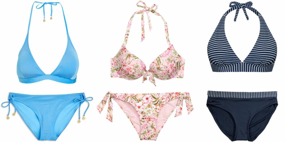 TIMEGLASS (f.v): Lindex Bikini-BH triangel, kr 149. Lindex Bikinitruse mini, kr 129. H&M Bikini vattert spile-bh, kr 149. H&M Bikinitanga, kr 99. Kappahl Hampton Republic 27 bikini-bh, kr 199. Kappahl Hampton Republic 27 bikinitruse, kr 149.