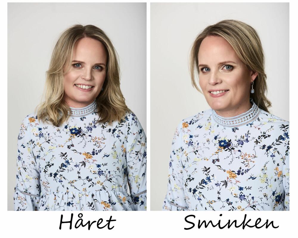 """HÅR OG SMINKE: Håret har fått en skikkelig """"blow dry"""", men sminken er naturlig, men skimmer og en god dose maskara. FOTO: Lars Evanger"""