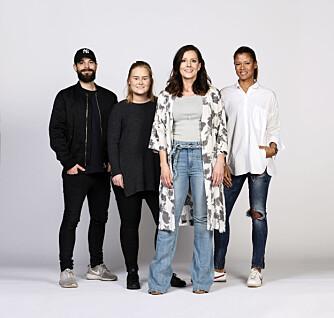TEAMET: Fra venstre: Fotograf Lars Evanger, frisør og makeupstylist Christine Mellem, Kamille-modell Katrine og stylist Nadine Monroe.
