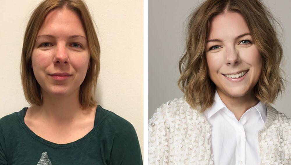 FØR OG ETTER: Barne- og ungdomsarbeideren Nina Paulsen ble valgt ut til bli ny-dag med magasinet Kamille.