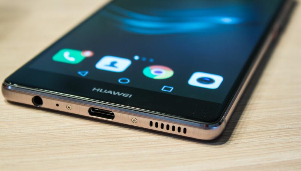 STILREN: Huawei P9 Plus er en stilren og pen mobil. Den har også fått den nyeste USB-standarden, USB-C.