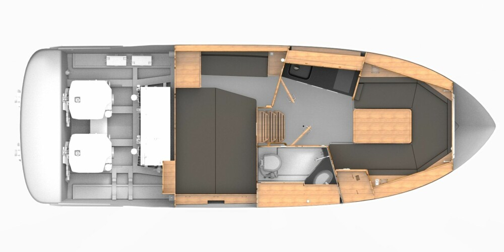 FIN LAYOUT: Stor bysseavdeling på venstre side, en sittegruppe forut som også fungerer som ekstra soveplass, og separat toalett/dusjrom på høyre side. Den separate kabinen akter, under cockpitdørken, er å regne som eierkabin.
