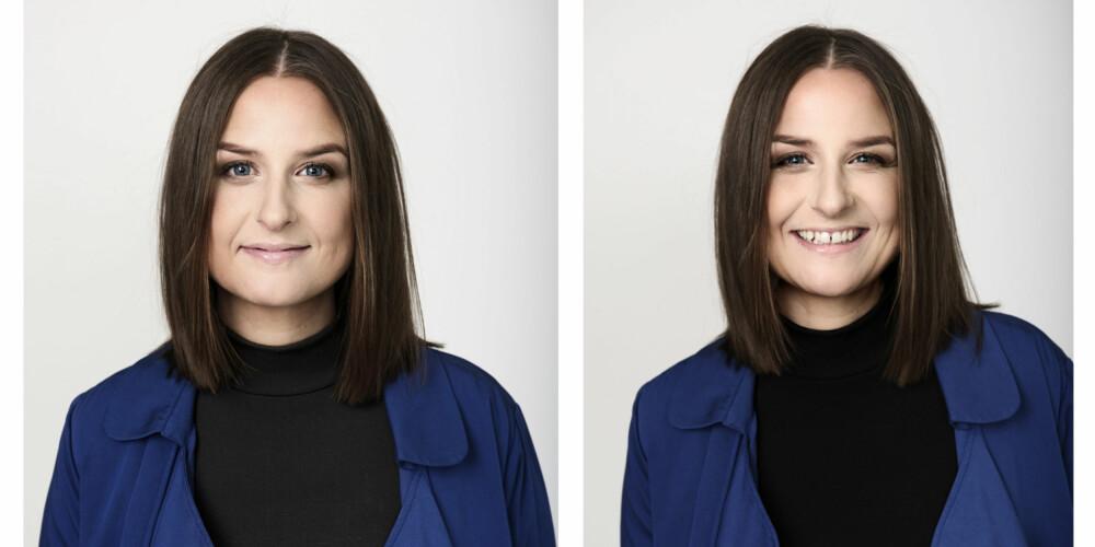 HÅR OG SMINKE: Christine mener at det beste med lob-frisyren er at den er like fin med midtskill og sideskill! FOTO: Lars Evanger