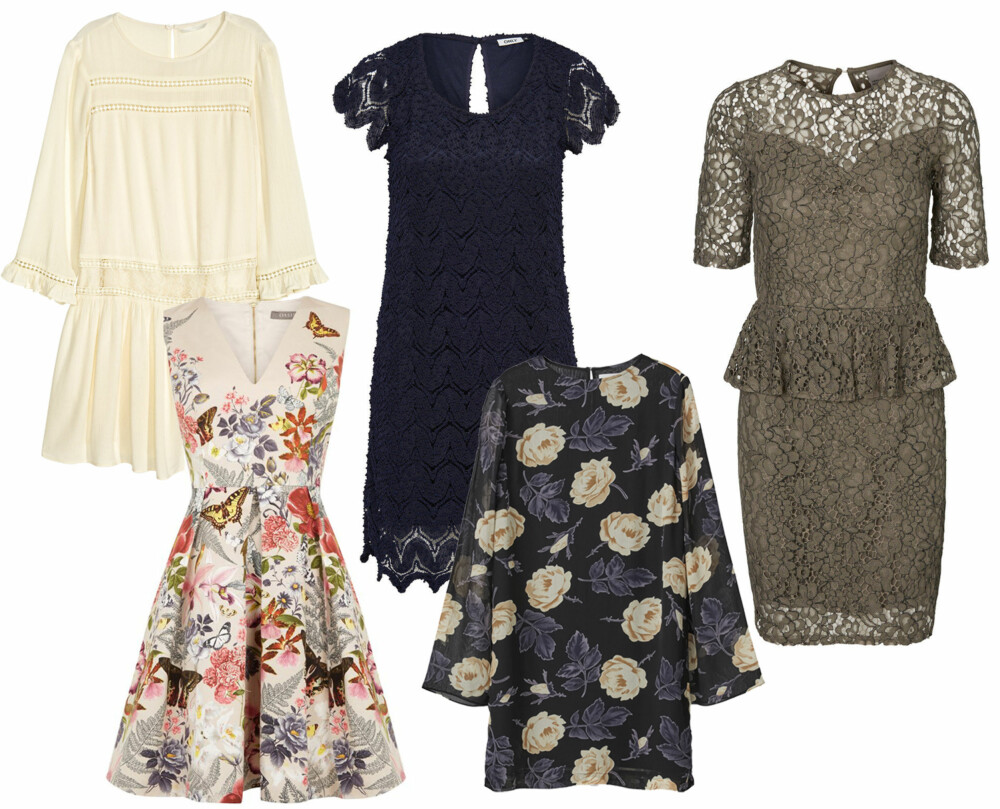 KJOLER TIL 17. MAI (f.v.): H&M krinklet kjole, kr 399. Only Lace Short Sleeved Dress, kr 429,95. Vero Moda Peplum Kort Kjole, kr 459,95. Oasis Botanical Placement Skater, kr 1399. Ganni Allen Georgette Dress, kr 1199.