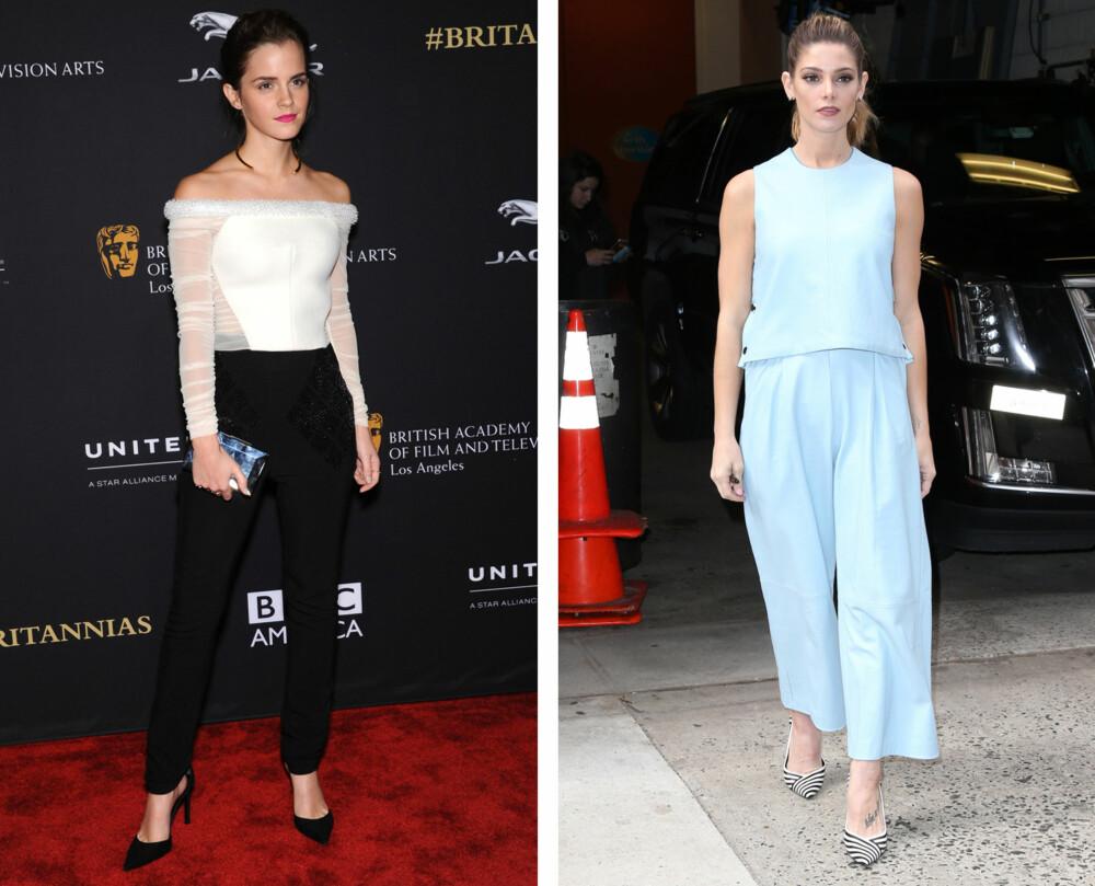 BUKSER PÅ NASJONALDAGEN: Hvorfor ikke gå for bukser og topp på 17. mai? Til venstre er Emma Watson i sigarettbukser og en hvit topp, mens Ashley Greene har på seg et matchende sett med bukser og topp.