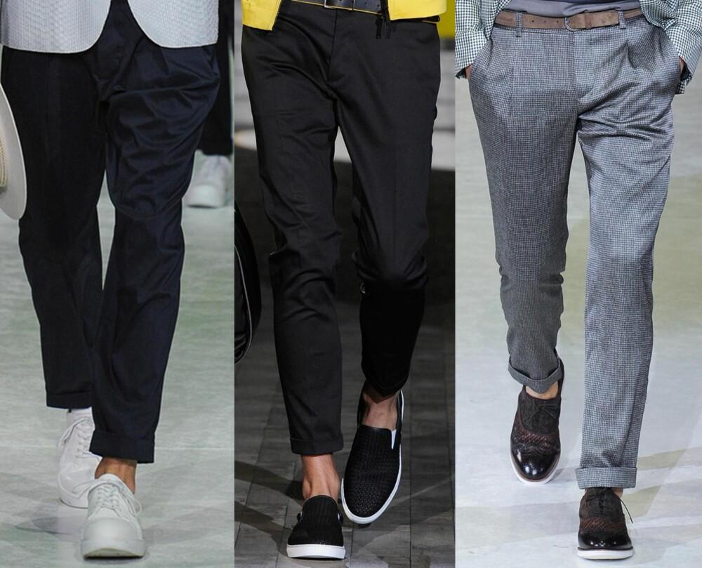PÅ CATWALKEN: Flere store motehus lot sine mannlige modeller spasere nedover catwalken iført den hverdagslige dressbuksen. Her ser du tre varianter. Fra venstre: Giorgio Armani, Dsquared2 og Giorgio Armani. Alle fra vår- og sommerkolleksjonen 2015.
