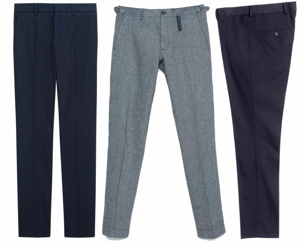 FLERE VARIANTER: Fra venstre: Marineblå bukse i bomullskvalitet fra Filippa K, kr 1500. Grå bukse i linkvalitet fra Zara, kr 559. Marineblå i bomullskvalitet  Fra H&M i bomullskvalitet med struktur, kr 399.
