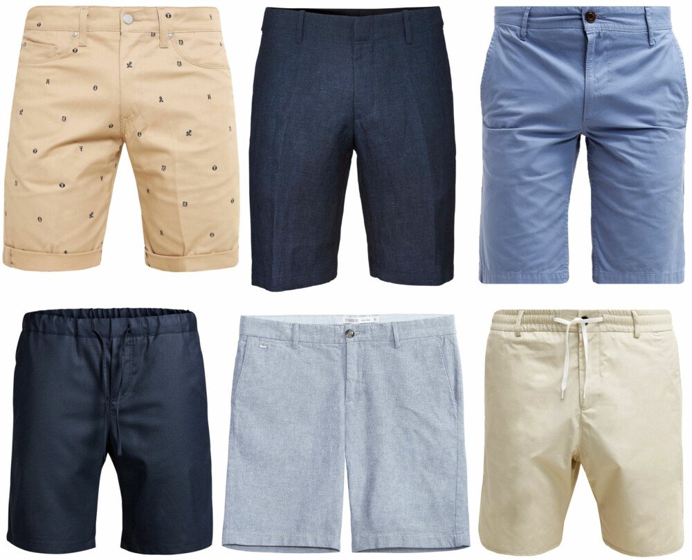 SHORTSER (f.v.): Carhartt Swell Wichita Shorts Safari/duke blue rigid/Zalando, kr 699. Tiger of Sweden Hills Shorts, kr 1499. BOSS Orange Shorts light pastel blue, kr 749. Premium by Jack & Jones Tailored Shorts, kr 599,95. Kappahl Strömberg Shorts, kr 399. Filippa K Liad Shorts mescal/Zalando, kr 1395.