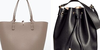 FINE, RIMELIGE VESKER: Beige håndveske fra Zara, kr 299, Bucket Bag fra H&M, 299 kroner. Fra venstre: Brun veske fra Lindex, 299 kroner