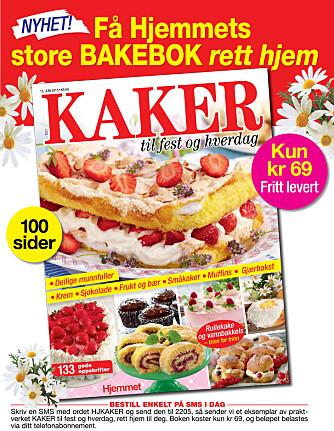 Fritt levert: Har du lyst på en hel bok full av deilige kakeoppskrifter? Bestill praktverket KAKER til fest og hverdag på SMS i dag for kun kr 69! Send SMS med ordet HJKAKER til 2205.