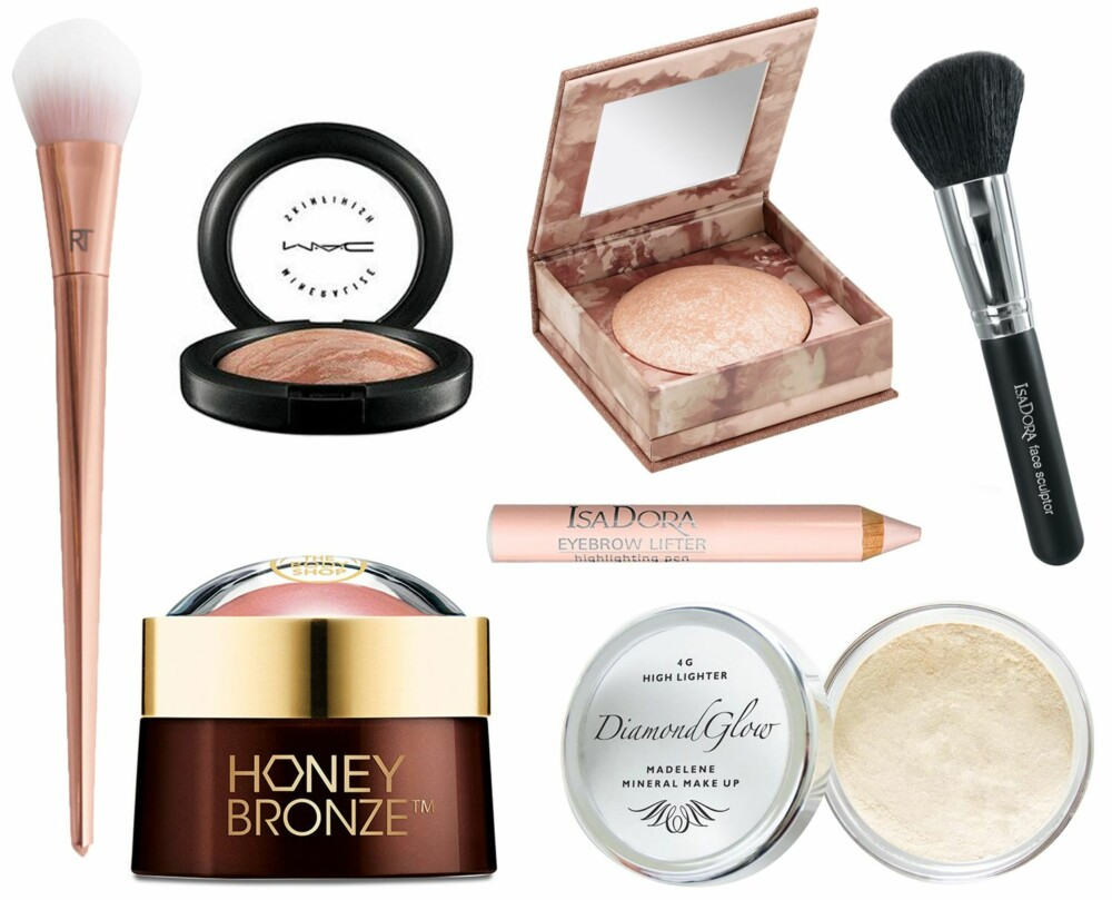 HIGHLIGHTER (f.v.): Real Techniques Tapered Blush Brush #300/Nelly, kr 339. Mac Mineralize Skinfinish Soft and Gentle, kr 260. Urban Decay Naked Illuminated Shimmering Powder for Face and Body, kr 260. Isadora Face Sculptor Blush Brush, kr 129. Isadora Eyebrow Lifter Highlighting Pen, kr 109. The Body Shop Honey Bronze Highlighting Dome, kr 169. Moyana Corigan High Lighter Golden Glow/Nelly, kr 295.