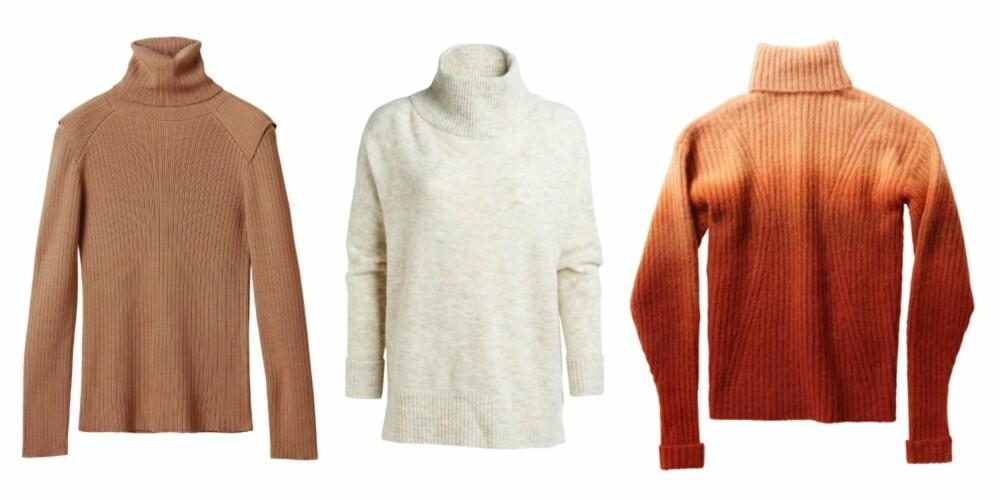 RUSTIKK: Fra venstre: Genser fra H&M, kr 399. Genser fra Lindex, kr 399. Genser fra H&M, kr 559.